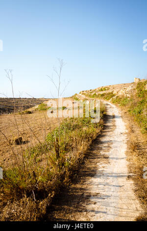 Dirt path winding through fields in the countryside around Wied il-Mielah. Gozo, Malta, Zebbug. - Stock Photo