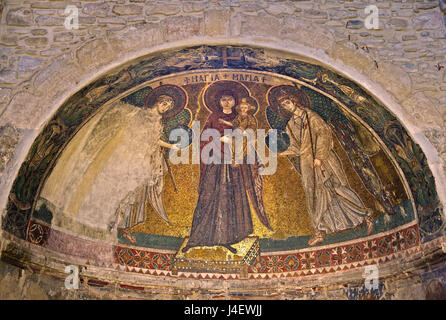 Impressive mosaic of Virgin Mary and archangels Michael and Gabriel in Panagia Angeloktisti Byzantine at  Kiti village, - Stock Photo