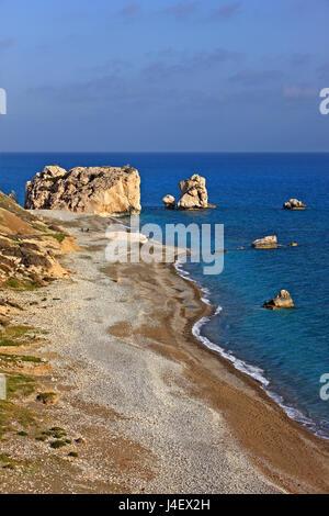 'Petra tou Romiou'  beach ('Greek's Rock', also known as 'Aphrodite's Rock' or 'Aphrodite's beach'), the 'birthplace' - Stock Photo