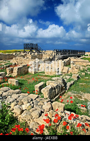 The 'House of Theseus' at the Archaeological Park of Paphos (UNESCO World Heritage Site) Cyprus. - Stock Photo