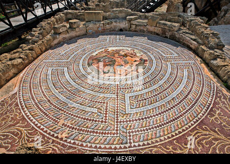 Impressive and very well preserved mosaic in the 'House of Theseus', at the Archaeological Park of Kato Paphos (UNESCO - Stock Photo