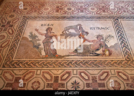 The 'Pyramos and Thisbe' mosaic Inside the 'House of Dionysus'  in the Archaeoological Park of Paphos (UNESCO World - Stock Photo