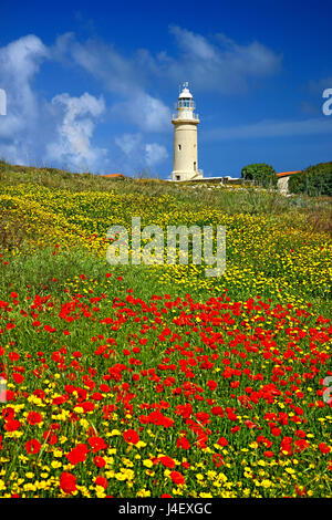 The lighthouse of Paphos, inside the Archaeological Park of Kato Paphos (UNESCO World Heritage Site) Cyprus - Stock Photo