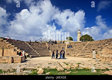Students, 'rehearsing' at the Roman Odeon in the Archaeological Park of Paphos (UNESCO World Heritage Site) Cyprus. - Stock Photo