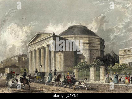 Coliseum  Regents Park engraved by Cox after Roberts publ 1837 edited - Stock Photo