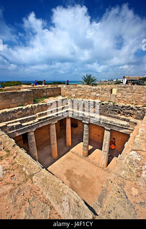Tomb 3, Tombs of the Kings (UNESCO World Heritage Site), Paphos, Cyprus. Paphos town is one of the 2 European Capitals - Stock Photo