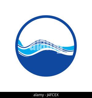 Blue Water Wave Logo - Stock Photo