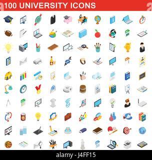 100 university icons set, isometric 3d style - Stock Photo