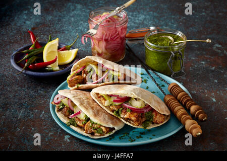 Middle Eastern chicken wrap - Stock Photo