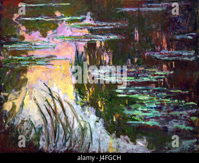 Water-Lilies, Setting Sun 1907 by Claude Monet 1840 - 1926 France French - Stock Photo