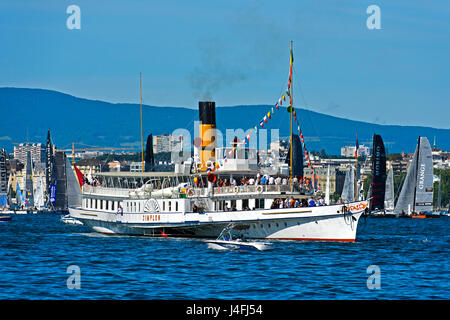 Paddle wheel steamer Simplon on Lake Geneva, Geneva, Switzerland - Stock Photo