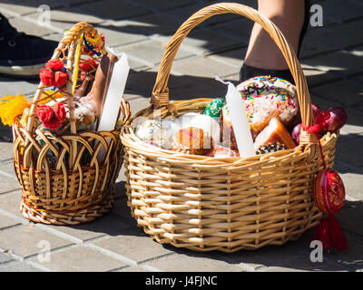 A cane basket filled with easter offerings of eggs and cakes to cane baskets filled with easter offerings of eggs and cakes to celebrate the russian orthodox easter negle Image collections