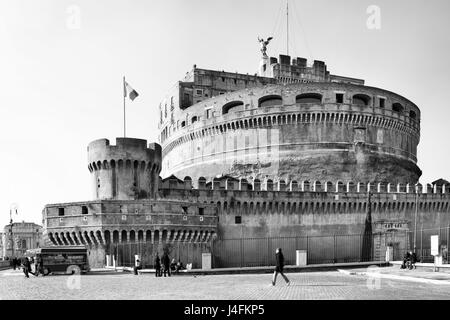 Castel Sant Angelo - Castle of the Holy Angel, Mausoleum of Hadrian in Rome, Italy. Black and white image - Stock Photo
