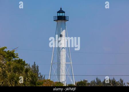 Rangelight in Gasparilla Island State Park on the Gulf of Mexico on Gasparilla Island Florida - Stock Photo