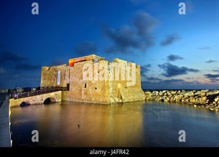 The castle of Paphos in the 'blue' hour, Cyprus.Paphos is on of the 2 European Capitals of Cullture for 2017. - Stock Photo