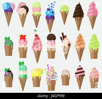 Set of flat vector ice cream cone with sweets. Collection ice cream cones with blueberry, caramel, lemon sundae. - Stock Photo
