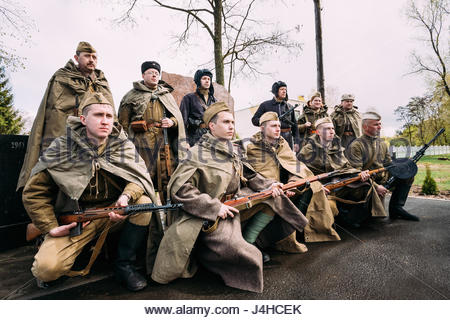 Pribor, Belarus - April 23, 2016: Re-enactors Dressed As Russian Soviet Infantry Soldiers Of World War II Standing - Stock Photo