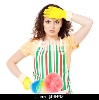 Housewife with cleaning supplies - Stock Photo