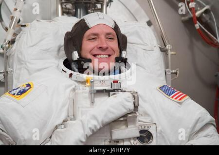 NASA International Space Station Expedition 52/53 prime crew member American astronaut Jack Fischer in a spacesuit - Stock Photo