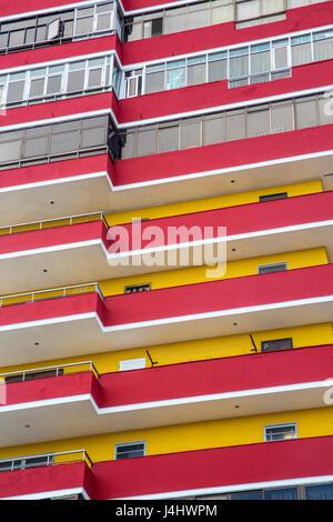 Colorful facade of apartment building in Havana Cuba - Stock Photo