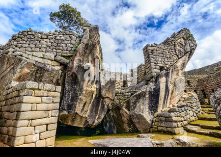 Condor temple Machu Picchu, Incas ruins in the peruvian Andes at Cuzco Peru - Stock Photo