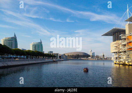 View of the Nations' park and the Oceanarium in Lisbon - Stock Photo