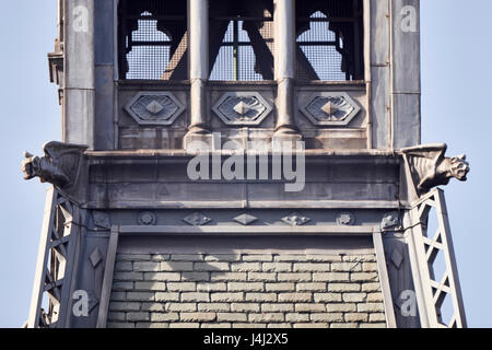 Clock tower detail of Midland Grand Hotel at St Pancras Station, London. With gargoyles and lattice girders. Designed - Stock Photo