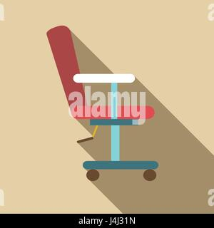 Red barber chair icon, flat style - Stock Photo