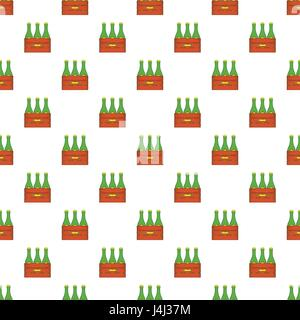Beer bottles in wooden box pattern, cartoon style - Stock Photo