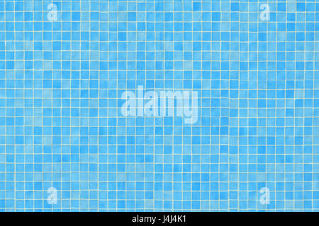 Blue ceramic tile mosaic in swimming pool texture. Horizontal composition - Stock Photo