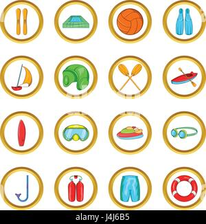 Water Sport Icons set, cartoon style - Stock Photo