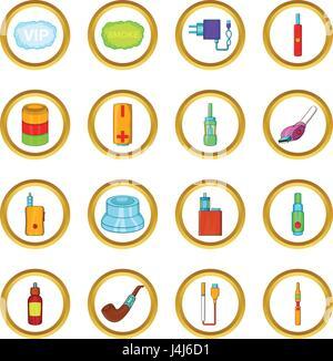 Electronic cigarettes vector set, cartoon style - Stock Photo