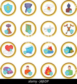 Insurance vector set, cartoon style - Stock Photo