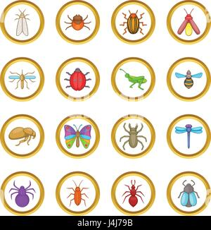 Insects vector set, cartoon style - Stock Photo