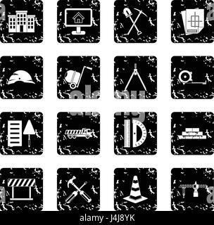 Construction set icons, grunge style - Stock Photo