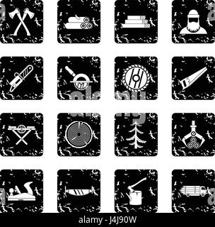 Timber industry set icons, grunge style - Stock Photo