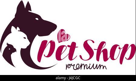 Pet shop logo. Animals cat, dog, parrot icon. Vector illustration - Stock Photo