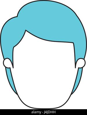 silhouette cartoon front view faceless man with blue hairstyle - Stock Photo