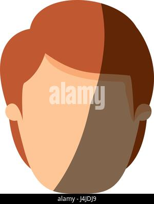 color image shading front view faceless man with brown hairstyle - Stock Photo