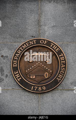 Logo of the U.S. Department of the Treasury, Washington, D.C., USA - Stock Photo