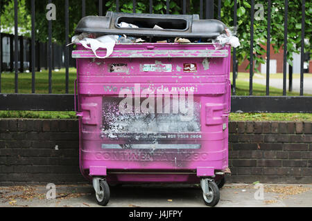 Recycling bins in Tower Hamlets London - Stock Photo