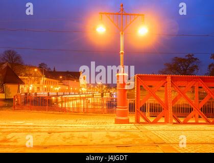 bridge Piaskowy and island Tumski at night, Wroclaw, Poland - Stock Photo