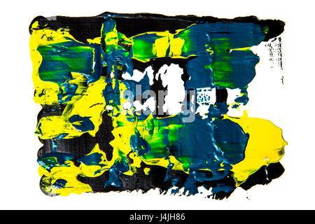 Abstract thick painting smudges on white background - Stock Photo