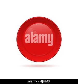 Blank round button for website. 3D glass button. Vector illustra - Stock Photo