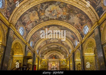 Malta, Valletta, St.John's Co-cathedral, ceiling - Stock Photo