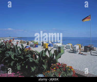 Germany, the North Frisians, Föhr, Wyk on Föhr, beach, Europe, North Germany, Schleswig - Holstein, island, North - Stock Photo