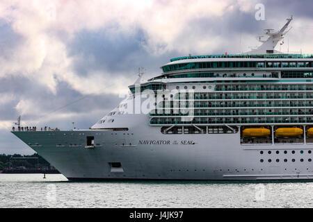 Royal Caribbean's MS Navigator of the Seas departs Southampton Port. - Stock Photo