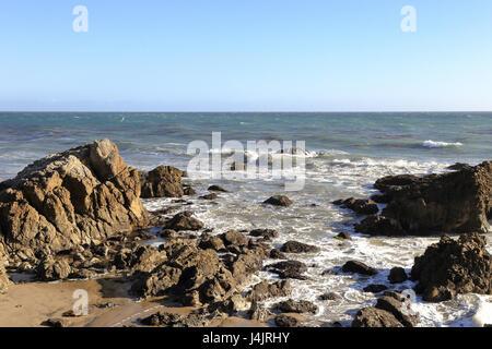 rocky shore at Leo Carrillo State Beach, Malibu California - Stock Photo