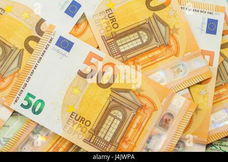 many 50 euro banknotes background - Stock Photo