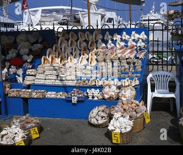 Greece, Rhodes, Rhodes town, harbour, sales, souvenirs, mussels Europe, Dodekanes, island, town, souvenir sales, - Stock Photo